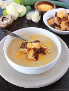 Roasted Cauliflower Cheese Soup with Grilled Cheese Croutons on www.cookingwithruthie.com is mouth watering comfort food at it's best!
