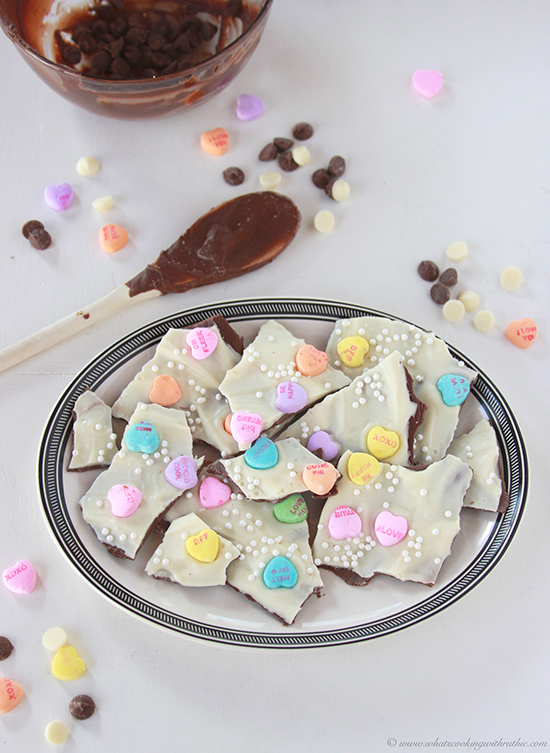 Sweetheart Bark on www.cookingwithruthie.com is a quick and easy way to share the love on Valentines Day!
