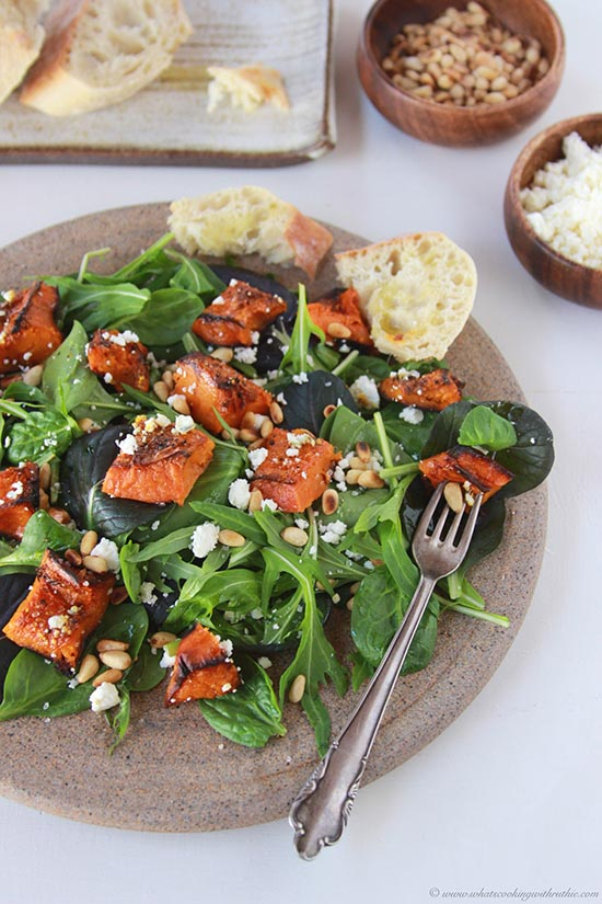 Butternut Squash, Feta, Pine Nut Salad on www.cookingwithruthie.com is one my favorite way to get my veggies!