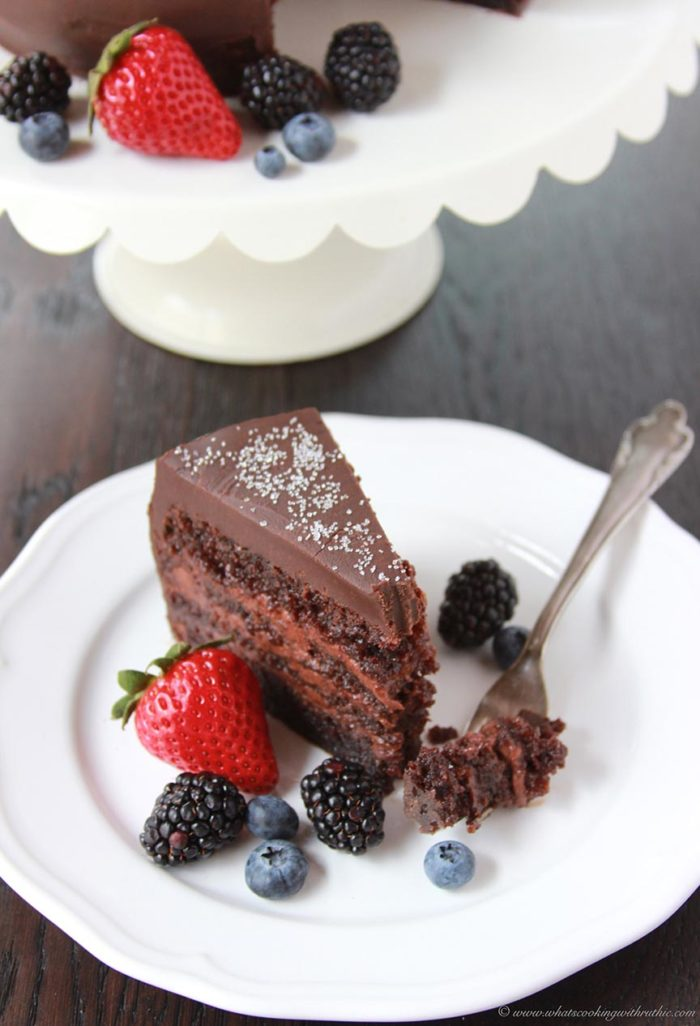 Chocolate Mousse Cake on www.cookingwithruthie.com will take your love of chocolate to a whole new level! It's amazing.