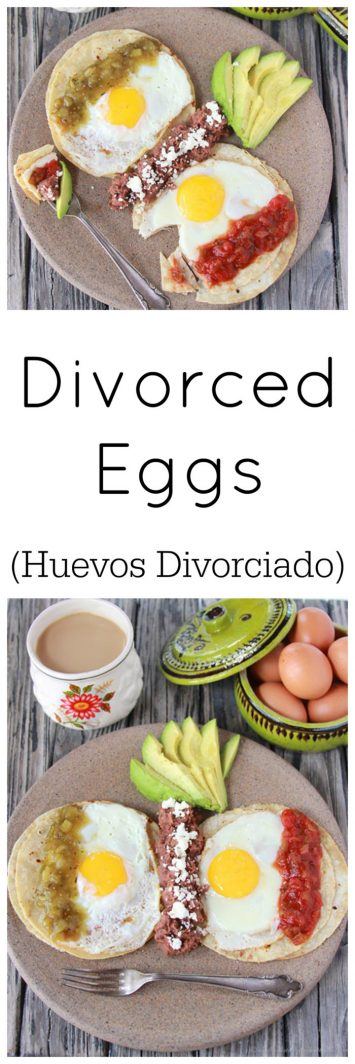 Divorced Eggs on www.cookingwithruthie.com are a traditional Mexican breakfast with over easy eggs and salsa done two ways