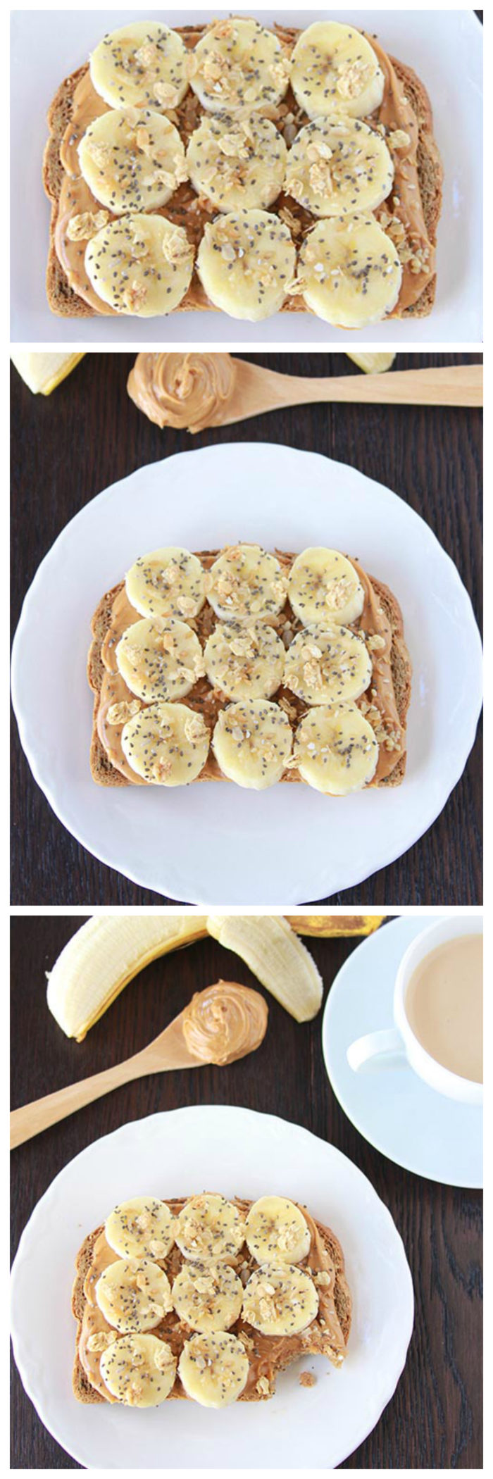 Banana, Peanut Butter, and Granola Toast on www.cookingwithuthie.com will be your new favorite quick and healthy way to start the day!