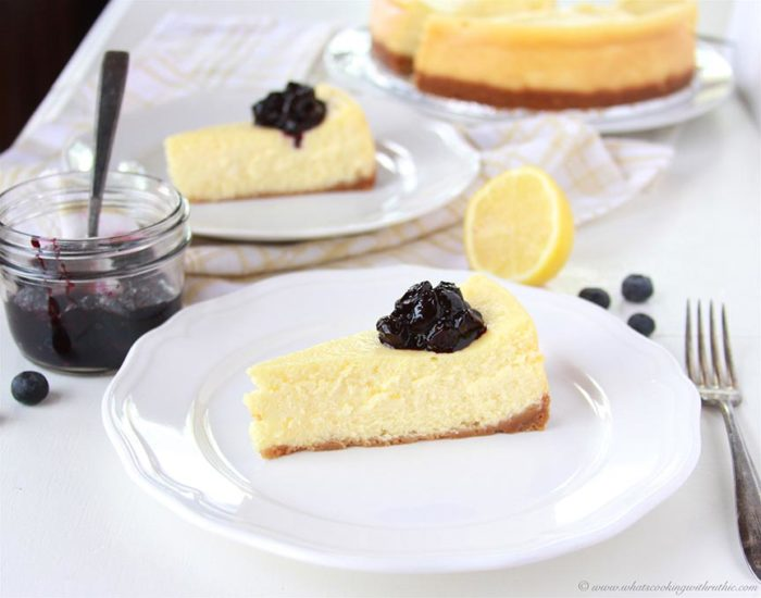 Lemon Cheesecake with Blueberry Compote on www.cookingwithruthie.com is beautiful decadence to make in your kitchen!
