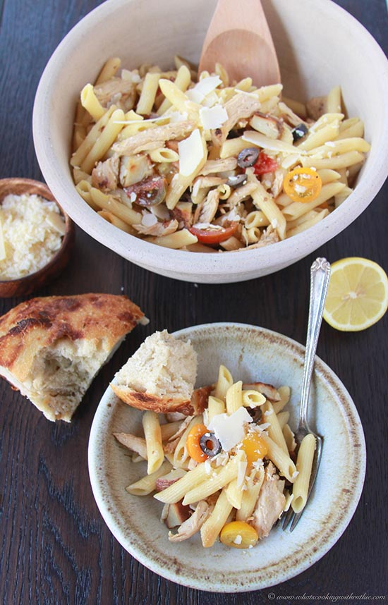 Lemon Chicken Roasted Potato Pasta on www.cookingwithruthie.com is a family favorite from my Auntie Ruth! Delish!!