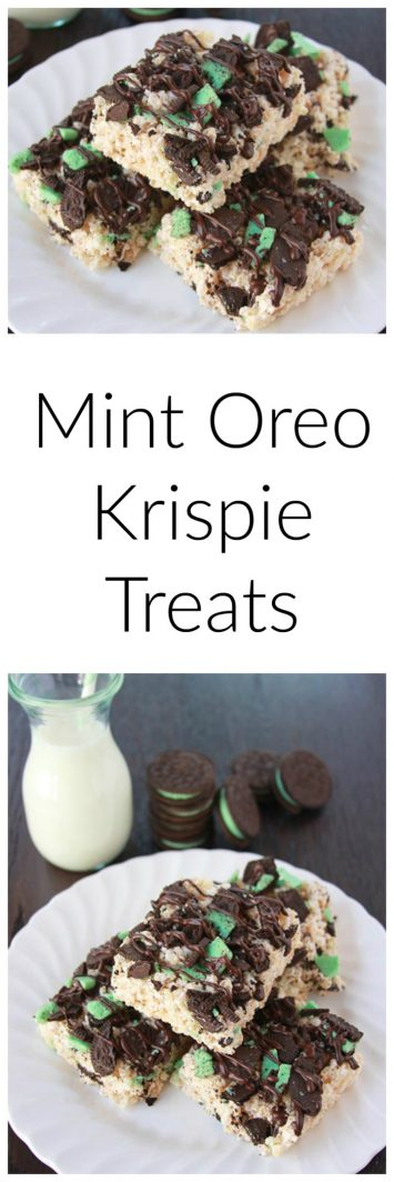 Our Mint Oreo Krispie Treats are a simple and festive to make for St. Patricks Day! by cookingwithruthie.com