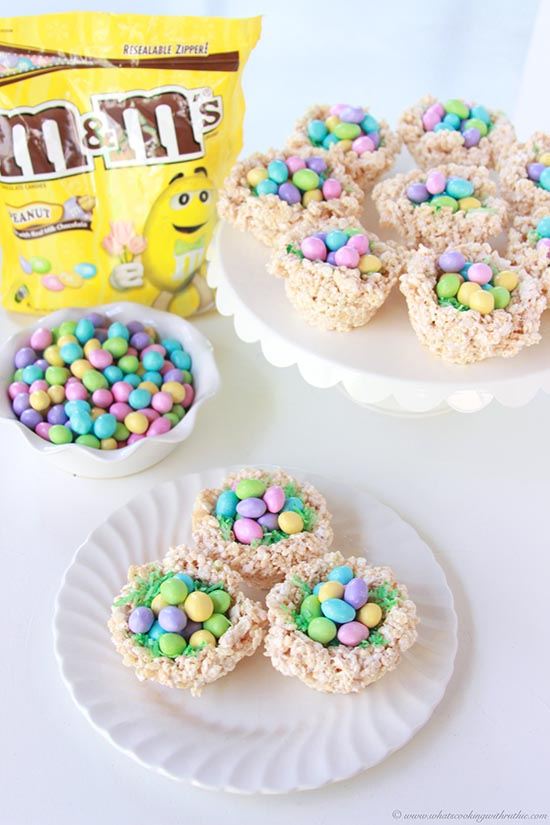 Our M&M'S® Easter Nests Recipe and a fun Easter DIY tutorial will bring happiness to your family and friends! by cookingwithruthie.com