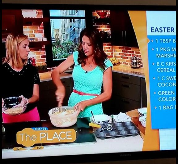 Cute segment Monday mornings demo's of M&M's® Easter Nests on Fox 13 The Place! www.cookingwithruthie.com