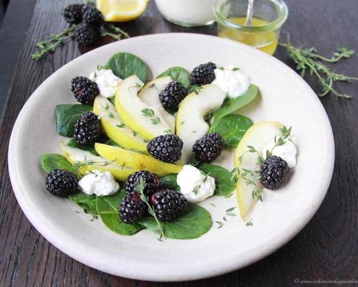Pear, Blackberry, and Ricotta Spinach Salad with Lemon Vinaigrette on www.cookingwithruthie.com is beautiful combination of savory and sweet!