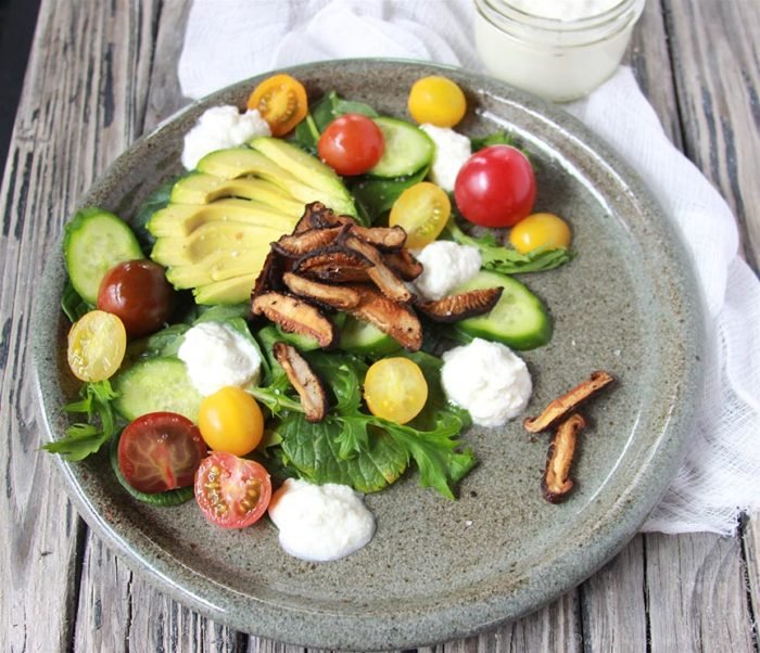 Roasted Mushroom, Avocado, and Ricotta Salad on www.cookingwithruthie.com is a beautiful combination of savory flavors plus it's so healthy and such good nutrition!