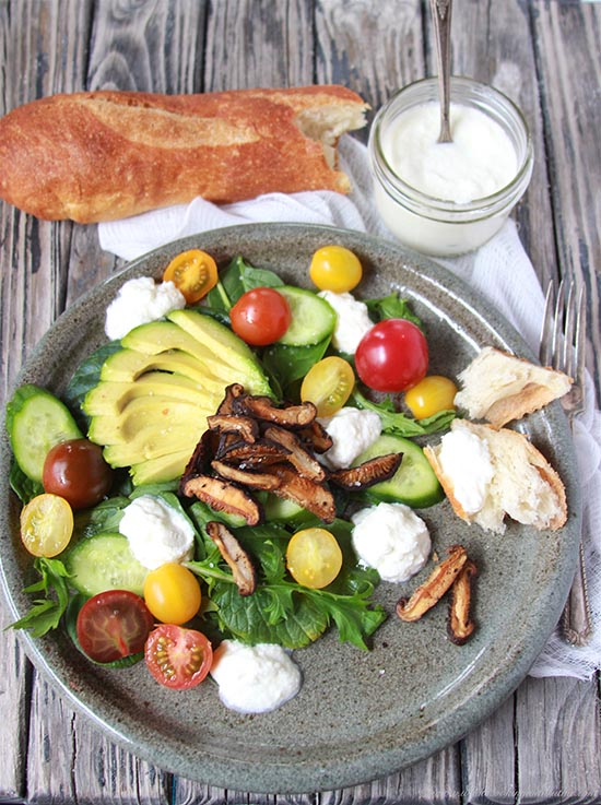 Roasted Mushroom, Avocado, and Ricotta Salad on www.cookingwithruthie.com is a beautiful combination of flavors and so healthy and good for you too!