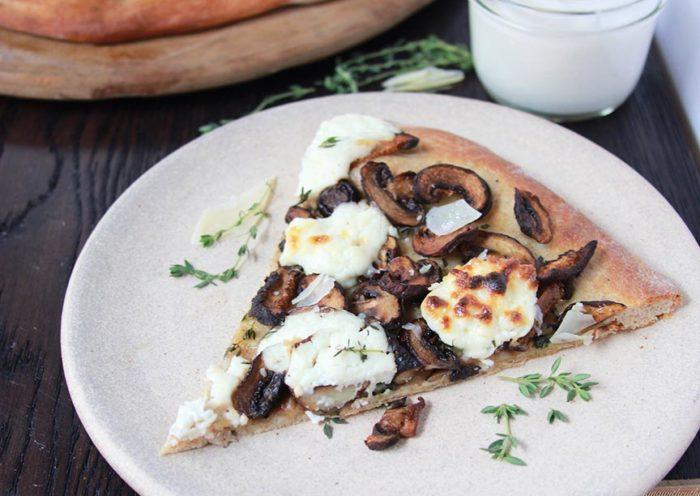 Roasted Mushroom Fresh Ricotta Parmesan Pizza Cooking