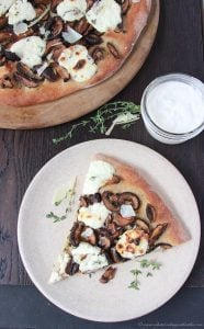 Roasted Mushroom, Thyme, Ricotta Pizza on www.cookingwithruthie.com is a beautiful combination of flavors that will bring a smile to your lips!