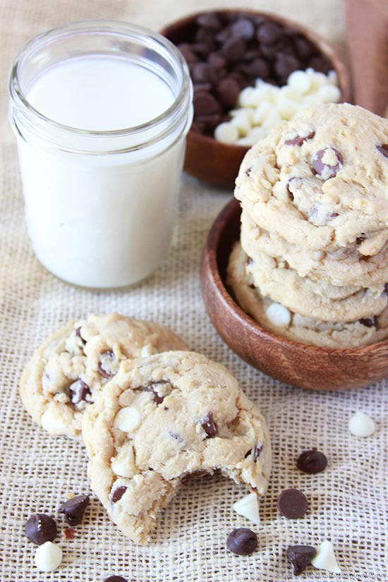 Triple Chocolate Chip Cookies on www.cookingwithruthie.com will make your sweet tooth very happy!