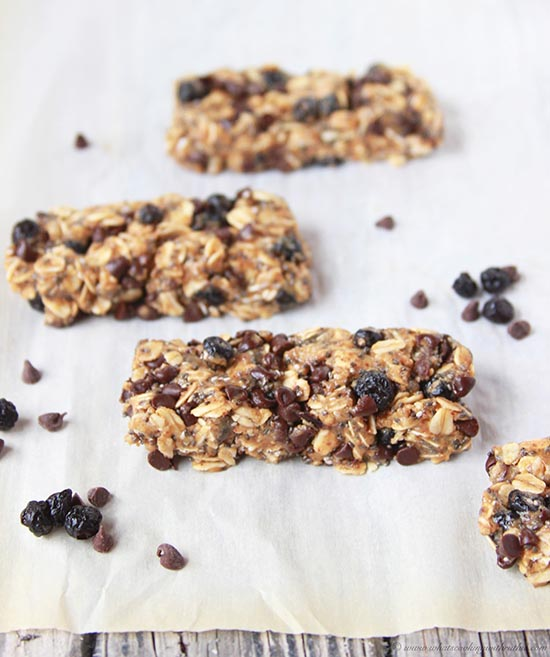 Wild Blueberry and Chocolate Raw Bars on www.cookingwithruthie.com are a healthy snack that's perfect for all your adventures!