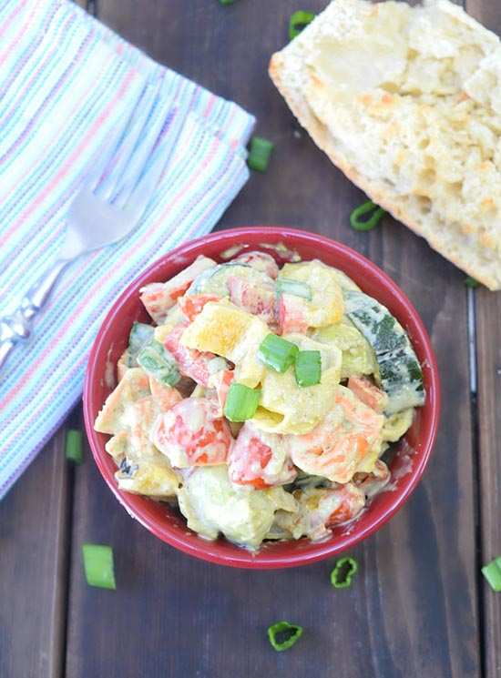 Creamy Italian Tortellini Salad by www.threekidsandafish.com on www.cookingwithruthie.com with grilled veggies will be a summertime favorite!