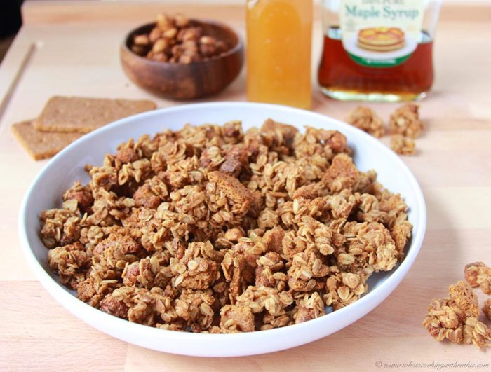 Our Candied Peanuts Granola Bites Recipe for your summertime snacking pleasure! by cookingwithruthie.com