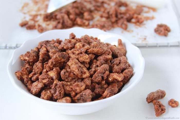 Candied Walnuts on www.cookingwithruthie.com are so simple to make at home and taste amazing! You'll love having them on hand to grab for a snack or to add to recipes!!