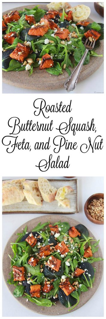 Roasted Butternut Squash, Feta, and Pine Nut Salad is extra fabulous when you grab a crusty loaf of bread at the store to go along with it! Delish!!