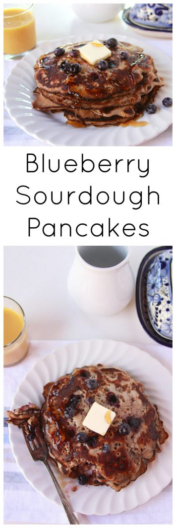 Blueberry Sourdough Pancakes on www.cookingwithruthie.com taste amazing and our families very favorite breakfast!