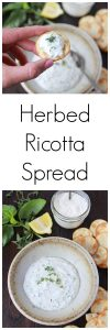 Herbed Ricotta Spread on www.cookingwithruthie.com will be the hit of any gathering you take it to! It's SO Delish!!