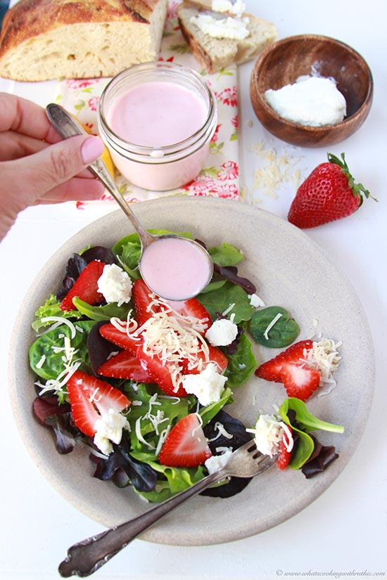 Today's Strawberry Coconut Salad with Strawberry Vinaigrette Recipe is a delight during the warm weather months! by cookingwithruthie.com