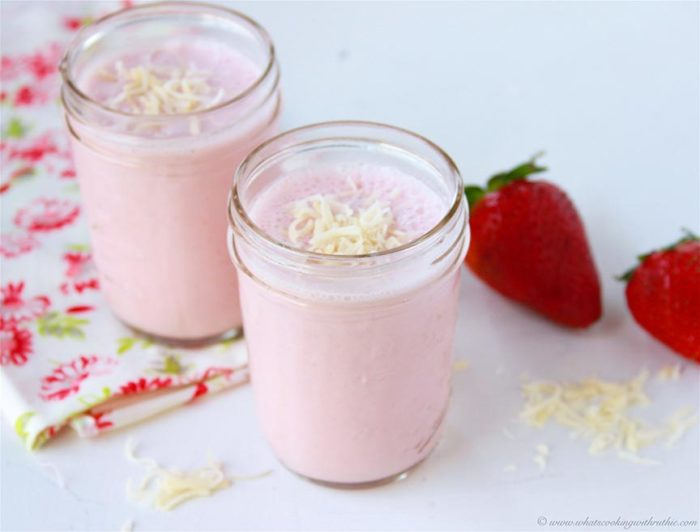 Strawberry Coconut Smoothie on www.cookingwithruthie.com is a deliciously healthy way to wake up in the morning!
