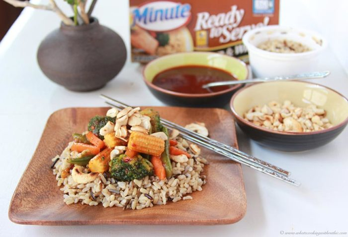 Toasted Cashew Vegetable Stir Fry on www.cookingwithruthie.com a quick, simple, and healthy meal solution! #MixInMinute #ad