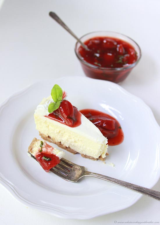 Cheesecake with Strawberry Basil Balsamic Sauce on www.cookingwithruthie.com will leave you speechless and begging for more!