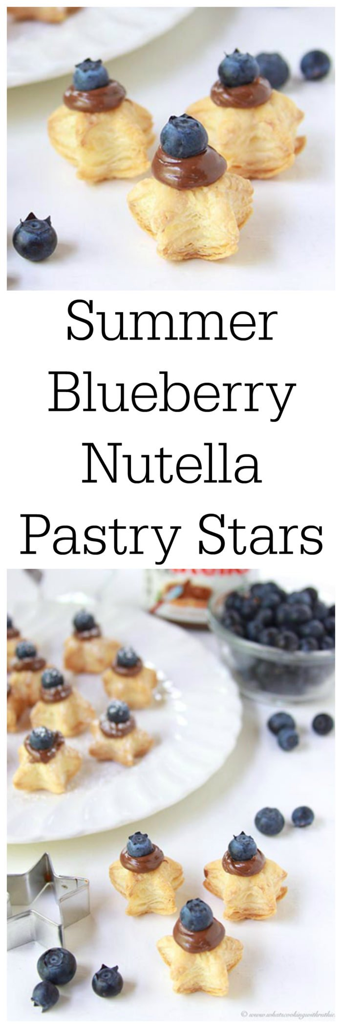 Summer Blueberry Nutella Pastry Stars on www.cookingwithruthie.com are only 3 ingredients to a fun summer brunch or dessert!