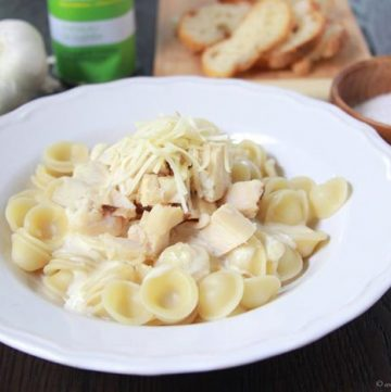 Browned Butter Chicken Alfredo with Pasta on www.cookingwithruthie.com it's easy to make and will impress your pickiest guests!
