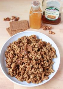 Candied Pecans Graham Granola Bites on www.cookingwithruthie.com is a healthy spin on granola snacking!