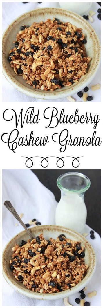 Wild Blueberry Cashew Granola on www.cookingwithruthie.com is delicious plus a healthy and filling way to start the day!