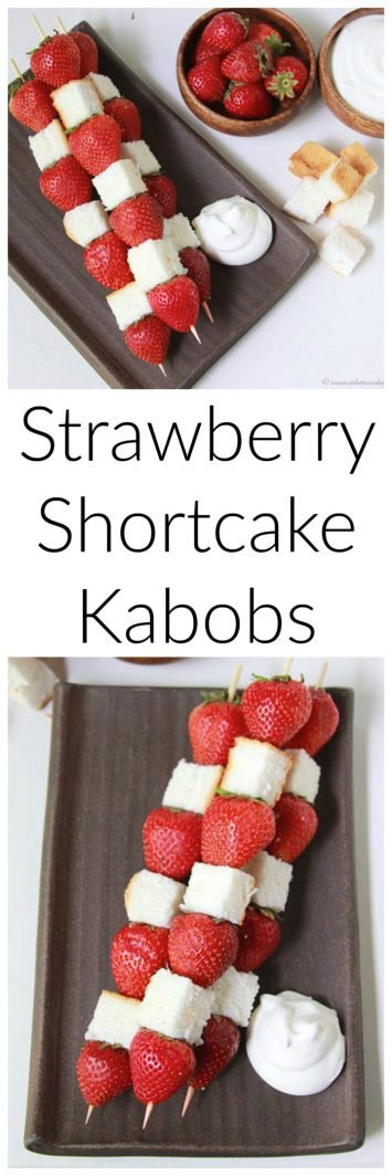 Strawberry Shortcake Kabobs on www.cookingwithruthie.com are fun to make and festive for the summertime!