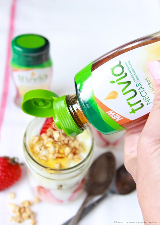 Truvía® Nectar Strawberry Yogurt Parfait on www.cookingwithruthie.com is a combination of Nectar sweetened yogurt, strawberries, and crunch that's delicious for brunch or a healthier dessert!