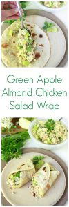 Green Apple Almond Chicken Salad Wrap on www.cookingwithruthie.com packed with all kinds of delicious green plus add chicken, blue cheese, and almonds! #ad #WrapUpSummerGoodness