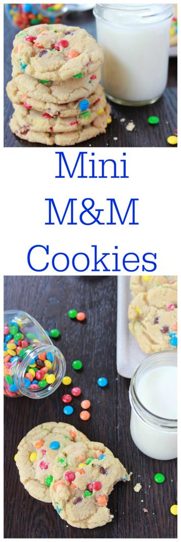Mini M&M Cookies on www.cookingwithruthie.com are so adorable plus the BEST cookie recipe ever :)