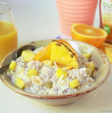 Pineapple Coconut Chia Overnight Oats on www.cookingwithruthie.com is one of my very favorite healthy breakfasts! #ad #truvia
