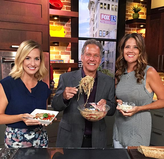 Bruschetta Pasta on Fox 13 www.cookingwithruthie.com a delicious twist on classical Italian Cuisine plus healthy cooking tips!