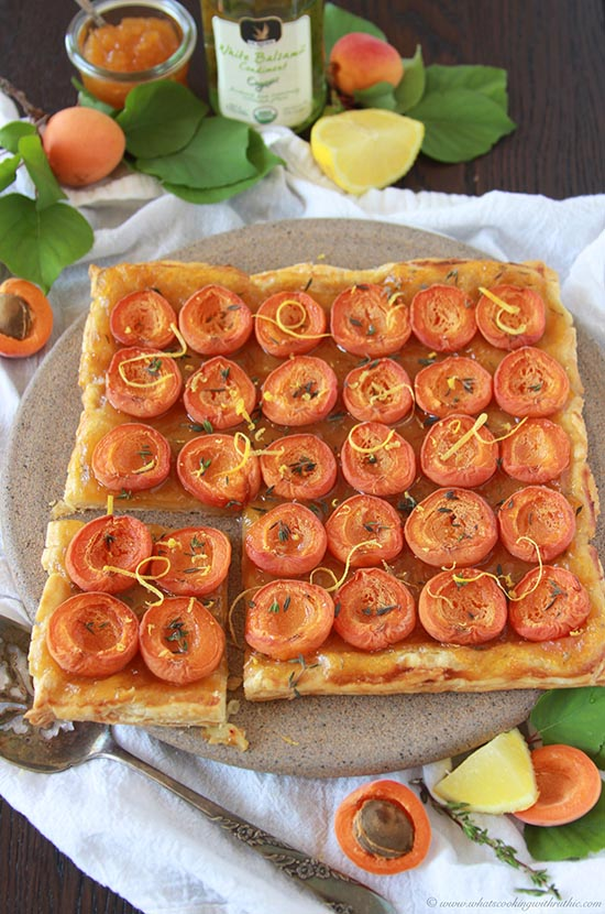 Apricot Thyme Lemon Tart on www.cookingwithruthie.com is a beautiful combination of savory and sweet on a bed of pastry dough! It's truly magical!!
