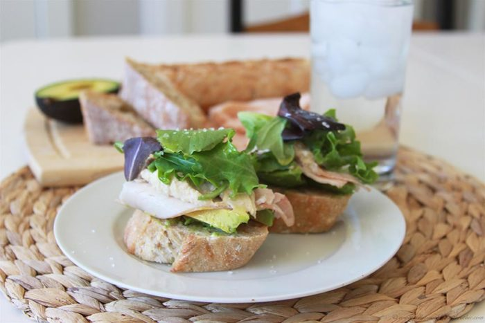 Avocado, Hummus, and Turkey Open-faced Sandwich on www.cookingwithruthie.com a delicious lunch packed with good-for-you ingredients!
