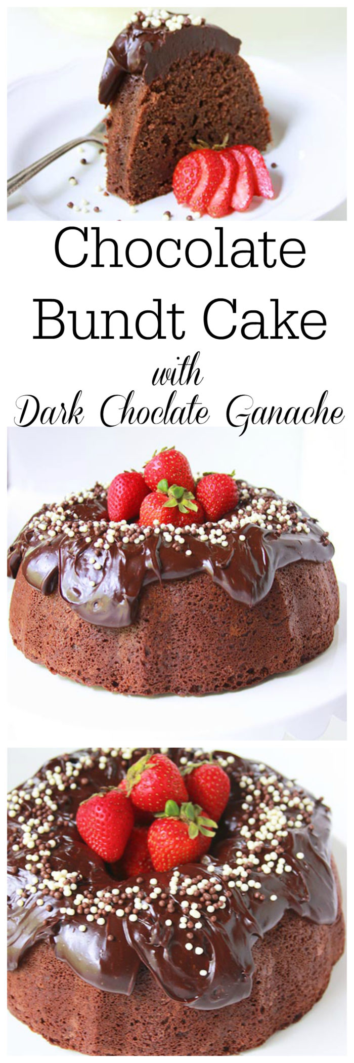 Chocolate Bundt Cake with Dark Chocolate Ganache on www.cookingwithruthie.com is chocolate heaven and every bit as delicious as it is beautiful!