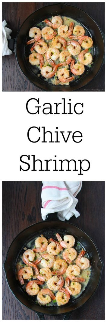 Garlic Chive Shrimp on www.cookingwithruthie.com is a quick and healthy way to serve up a dinner in 10 minutes or less!