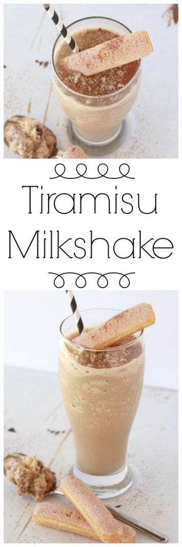 Tiramisu Milkshake on www.cookingwithruthie.com is a delightfully creamy and sweet with a mild coffee flavor~ it's a really amazing frosty treat!