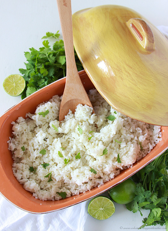 Today's Cilantro Lime Rice Recipe is a tasty side dish to add to your dinner to your tonight! by cookingwithruthie.com