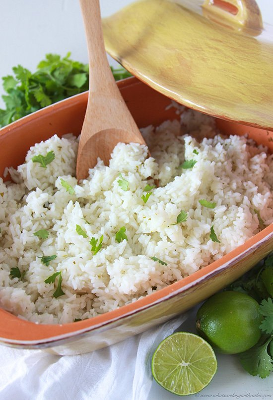 Cilantro Lime Rice on www.cookingwithruthie.com is a tasty side dish to add to your dinner tonight!
