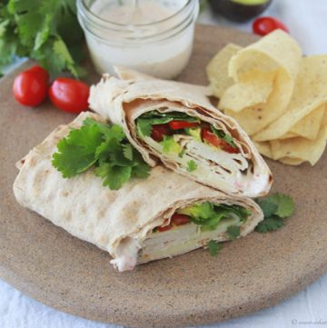 Cilantro Turkey Wrap with Pico de Gallo Mayo on www.cookingwithruthie.com is a spicy little wrap to make lunch fun!