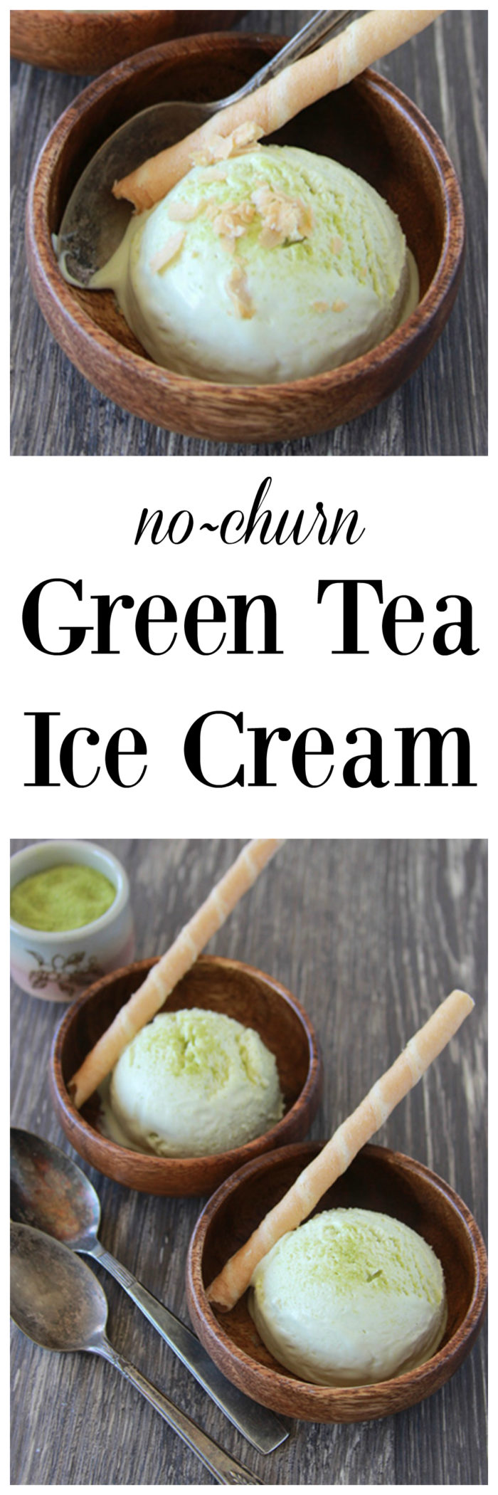 Japanese Green Tea Ice Cream on www.cookingwithruthie.com is a smooth and creamy no-churn ice cream with mild green tea flavor!