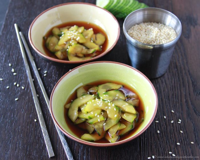 Japanese Cucumbers with Sweet Vinegar Dressing on www.cookingwithruthie.com is a refreshing salad that tastes great with any meal!