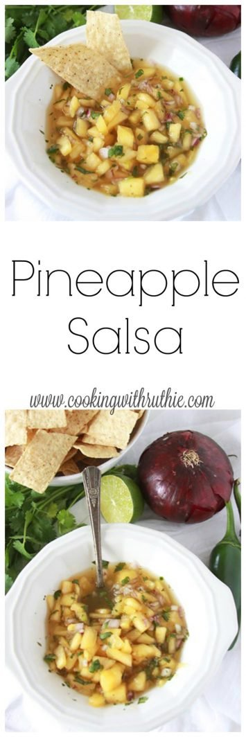 Pineapple Salsa on www.cookingwithruthie.com is a summer must-have!  You'll love the flavors in this salsa~ grab a bag of chips and dig in!!