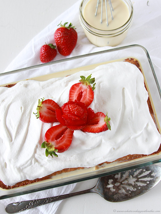 Tres Leches Cake is a classic made easy with a cake mix! www.cookingwithruthie.com